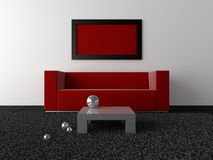 Interior design - Red, black and metal Royalty Free Stock Photography