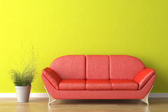 Interior design red couch on green Royalty Free Stock Image