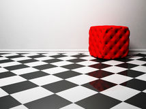 Interior design with a red pouf Stock Photography