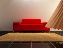 Interior design - Red Sofa. 3D Interior design - Red modern sofa in luminous room Royalty Free Stock Images