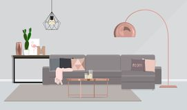 Interior design of the room in gray with rose-gold. Vector illustration is drawn by shape stock illustration
