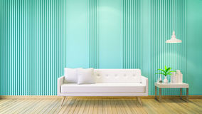 Interior room ,minimalist modern,white sofa with white table on green wall and wood floor ,copy space ,valentine day ,3d render Royalty Free Stock Image