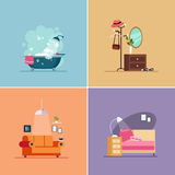 Interior Design Room Types. Vector Illustration Set Stock Photography