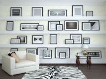 Interior design of the room. Wall with frames