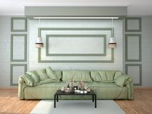 Interior design of the room with a white sofa. Stock Image