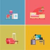 Interior Design Rooms. Vector Illustration Set stock illustration
