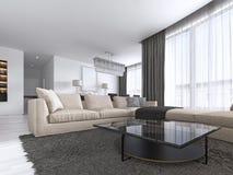 Interior design: Salone con un grande sofà d'angolo e un'unità della TV nello stile contemporaneo illustrazione vettoriale