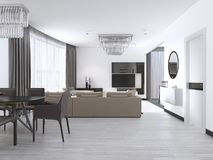 Interior design: Salone con un grande sofà d'angolo e un'unità della TV nello stile contemporaneo royalty illustrazione gratis