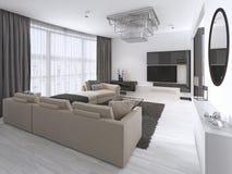 Interior design: Salone con un grande sofà d'angolo e un'unità della TV nello stile contemporaneo illustrazione di stock