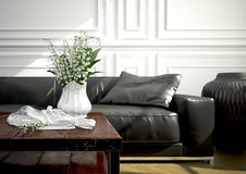 Interior design, salone rappresentazione 3d Immagini Stock