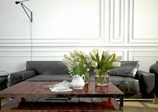 Interior design, salone rappresentazione 3d Fotografia Stock Libera da Diritti