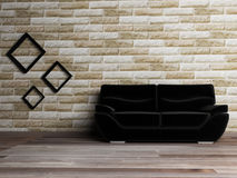 Interior design scene with a black sofa Stock Photos