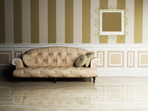 Interior design scene with a classic  sofa Royalty Free Stock Photos
