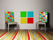 Interior design scene with a colored chairs Stock Photos