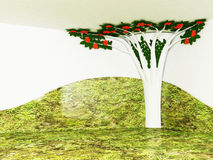 Interior design scene with a decorative tree Royalty Free Stock Images