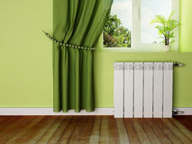 Interior design scene with a radiator Stock Photos