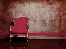 Interior design scene with a red retro armchair Stock Photos
