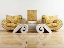 Interior design scene with two armchairs Royalty Free Stock Photo
