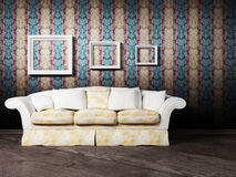 Interior design scene with a white sofa Royalty Free Stock Photography