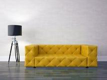 Interior design series: Modern living room. 3D render modern interior and sofa Stock Images