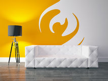 Interior design series: Modern living room. 3D render modern interior and sofa Royalty Free Stock Photography