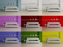 Interior design set with color variations Stock Image