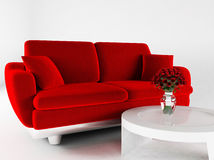 Interior design with a sofa and a table Royalty Free Stock Images