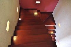 Interior design Stair case. Unusual interior design teak wood stair case stock images