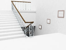 Interior design with the stairs and a pictures Royalty Free Stock Images