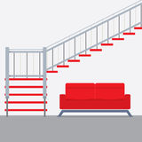 Interior Design Stairs With Sofa Royalty Free Stock Image