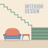 Interior Design Stairs With Sofa royalty free illustration
