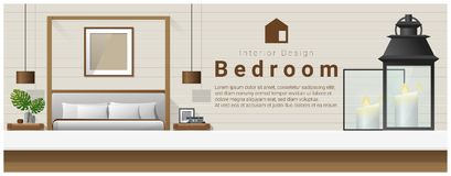 Interior design with table top and Modern bedroom background. Vector , illustration vector illustration