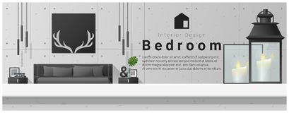 Interior design with table top and Modern bedroom background Stock Photo