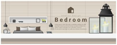 Interior design with table top and Modern bedroom background vector illustration