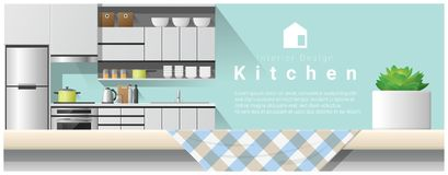 Interior design with table top and Modern kitchen background Royalty Free Stock Photography