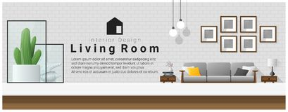 Interior design with table top and Modern living room background Stock Photos