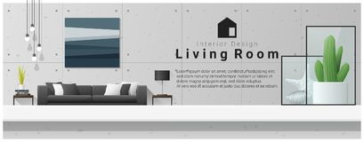 Interior design with table top and Modern living room background Royalty Free Stock Photos