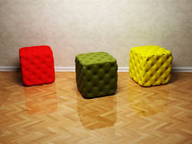 Interior design with three colored puffs Royalty Free Stock Images