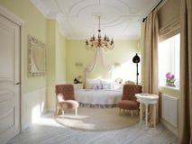 Interior design tradizionale classico della camera da letto Immagini Stock Libere da Diritti