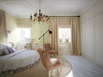 Interior design tradizionale classico della camera da letto Royalty Illustrazione gratis