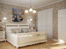 Interior design tradizionale classico della camera da letto Immagine Stock