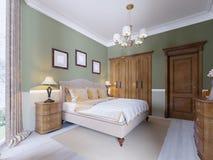 Interior design tradizionale classico moderno della camera da letto con le pareti verde oliva, la mobilia elegante e la biancheri illustrazione di stock