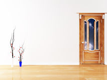 Interior design with the vases and a door Royalty Free Stock Photography