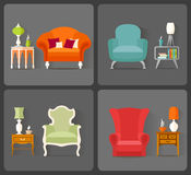 Interior Design. Vector icons with the image of furniture in different styles. Royalty Free Stock Photos