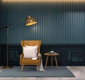 Vintage room,brown leather wing chair with wood table and gold floor lamp onclassic  dark blue wall, 3d render Stock Image