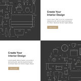 Interior Design web banner. House interiors website banners with line icons. Modern vector illustration Stock Photo
