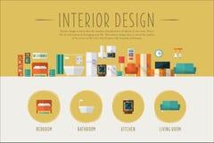 Interior design web banner template, Bedroom, bathroom, kitchen, living room project vector Illustration. In flat style stock illustration