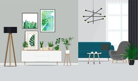 Interior design of a white living room with botanical posters and a sofa, indoor plants. Vector Flat illustration. Vector illustration. Painted in shape stock illustration