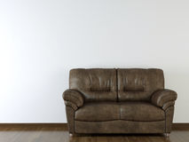Interior design white wall with leather couch Stock Photography