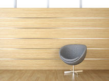 Interior design wood cladding and chair Stock Photo
